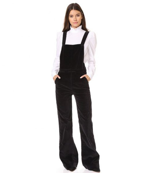 white scalloped collar shirt flared leg velvet overalls