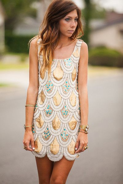white scalloped dress sparkly