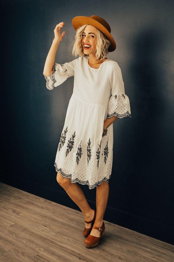 white scalloped dress stitched