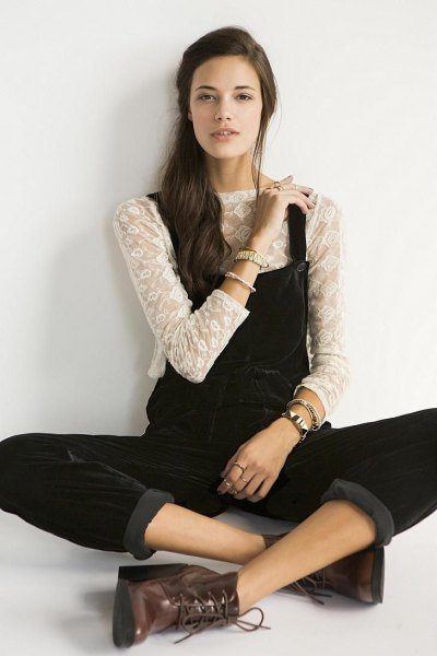 white semi sheer three quarter sleeve top black overalls