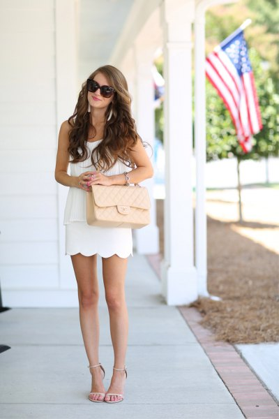 white skirt pink purse heels
