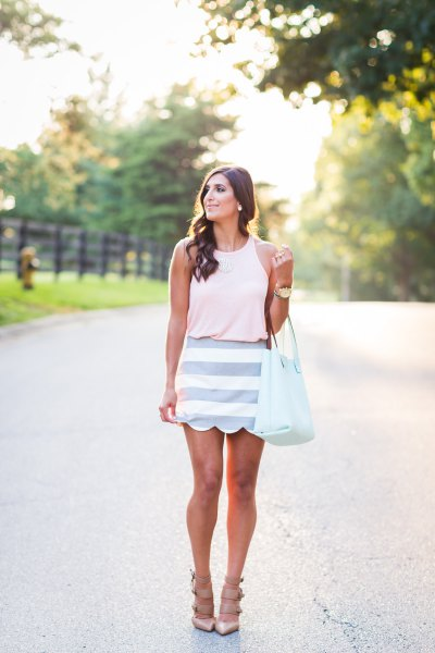 white sleeveless top pink striped scallop skirt