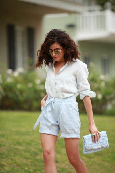 white striped button up shirt light blue linen shorts