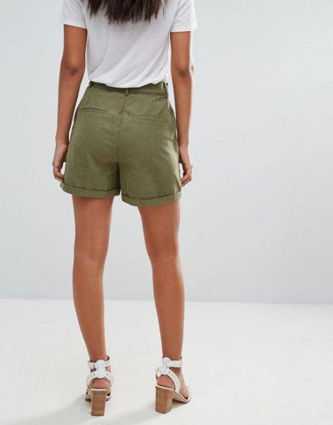 white t shirt green cargo shorts heeled sandals