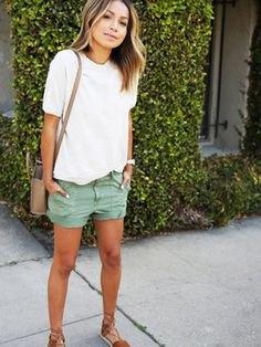 white t shirt grey khaki cargo shorts