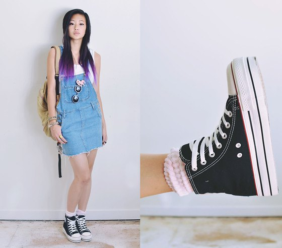white tank top overall dress high top converse