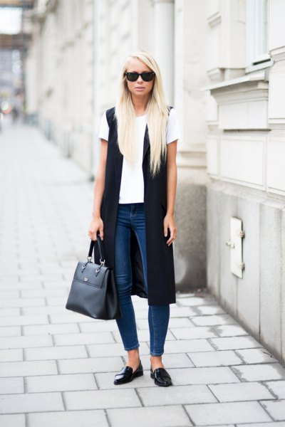 white top black long vest