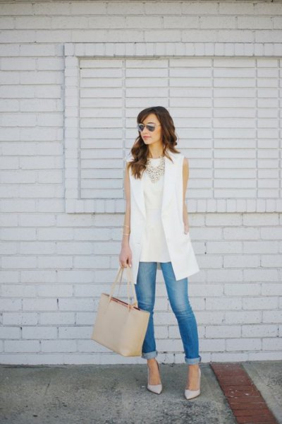 white vest pale pink sleeveless top