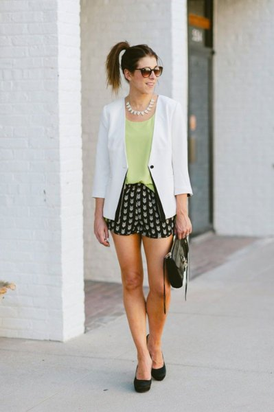 yellow blouse white blazer