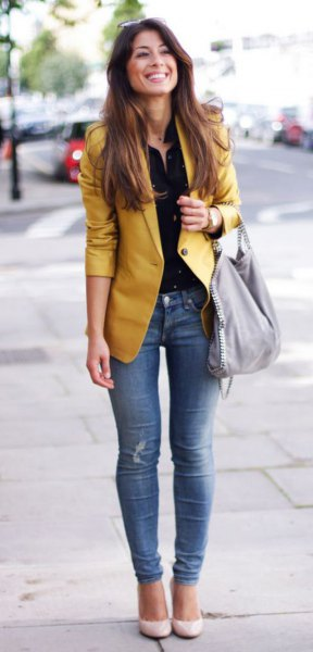 yellow jacket black button up shirt