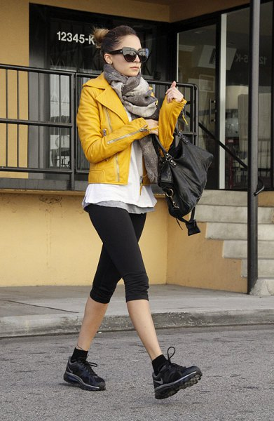 yellow leather jacket black knee length sports