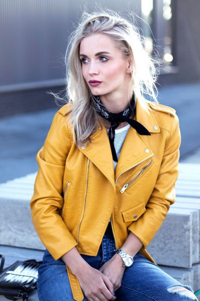 yellow leather jacket jeans choker