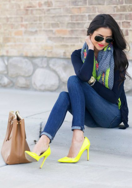 yellow pointed toe heels navy scarf