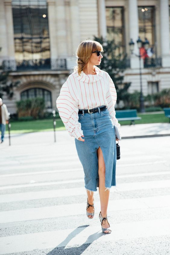 denim midi skirt slit