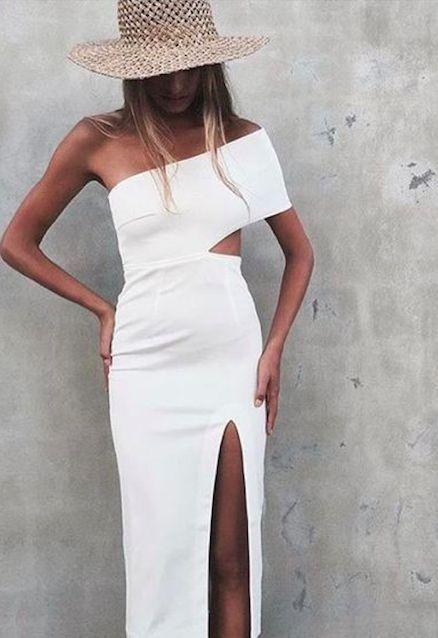 one shoulder maxi dress white