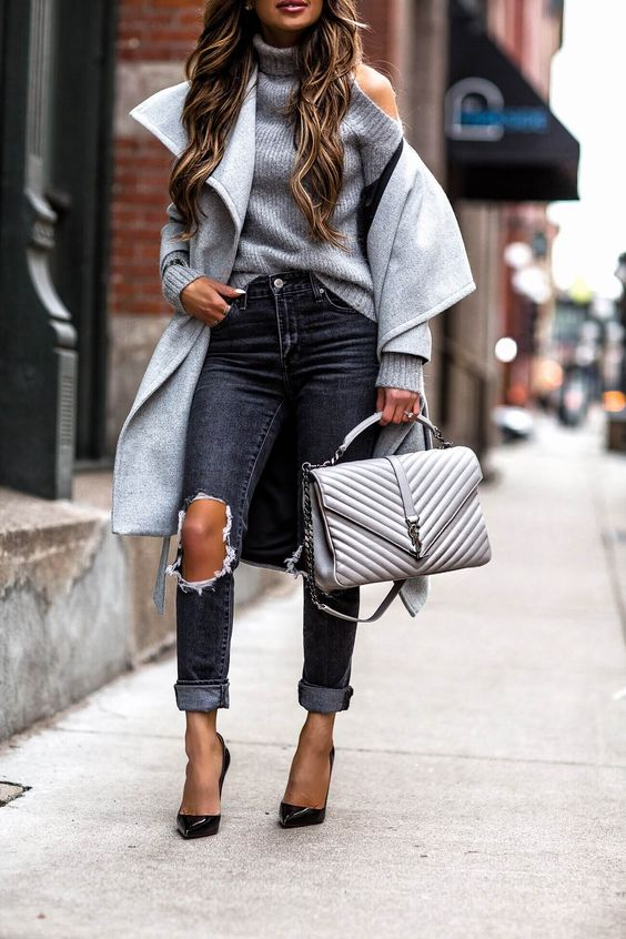 cold shoulder sweater grey