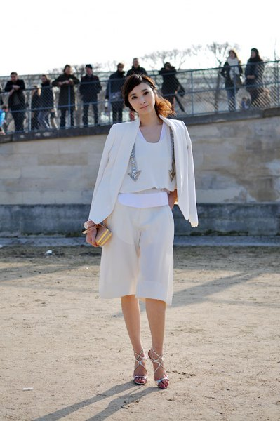 all white outfit blazer blouse culottes