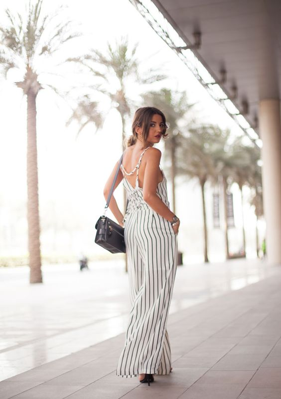 backless jumpsuit striped