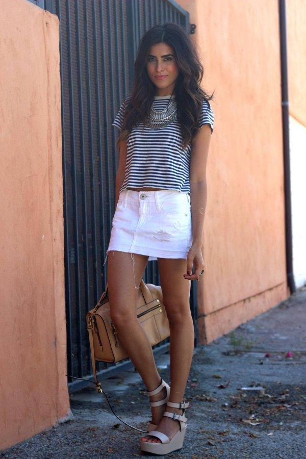 best white denim skirt outfit ideas