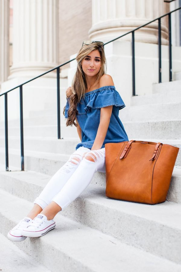 a6dbecf9eecb How to Wear Denim Off The Shoulder Top  Best Outfit Ideas - FMag.com