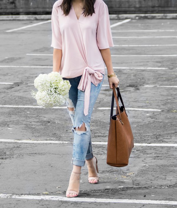 4dc2dc5a55 How to Style Wrap Blouse: 15 Chic Outfit Ideas for Ladies - FMag.com