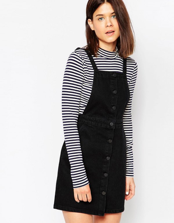 best denim pinafore dress outfit ideas