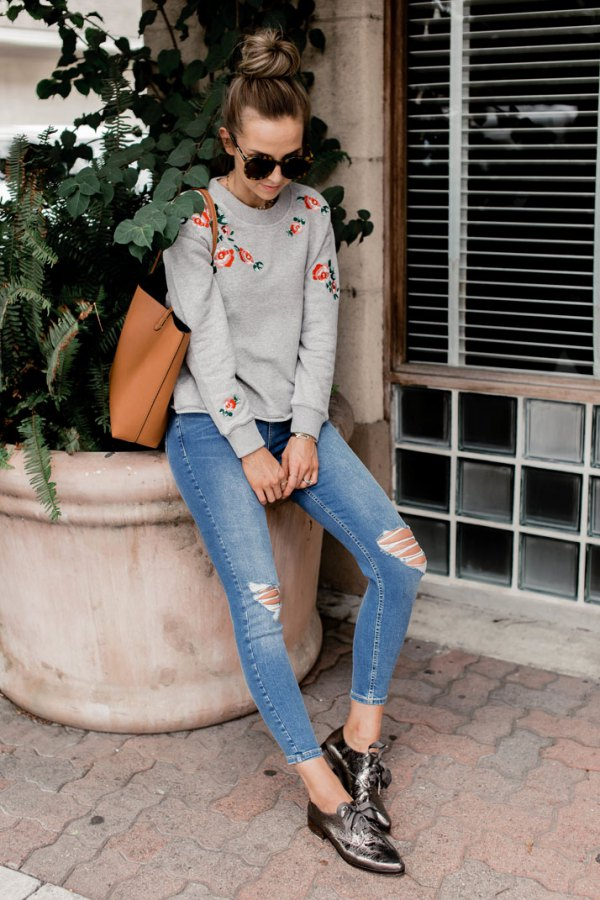 best embroidered sweatshirt outfit ideas