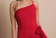 best red one shoulder dress outfit ideas