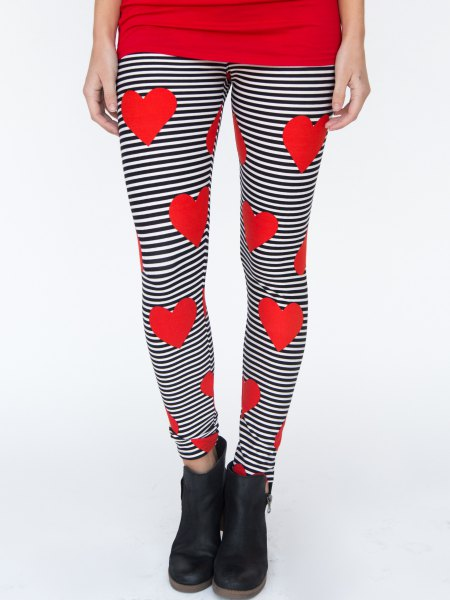 black and white horizontal striped leggings heart shaped prints