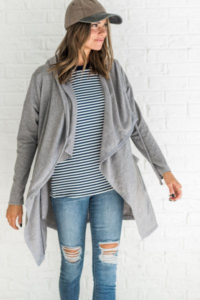 black and white striped tee grey hooded cardigan