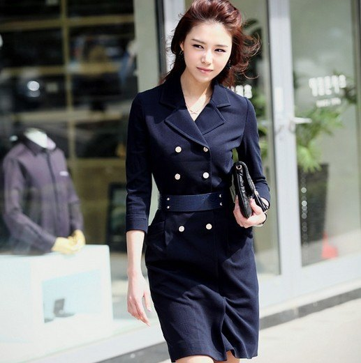 black belted double breasted suit jacket dress