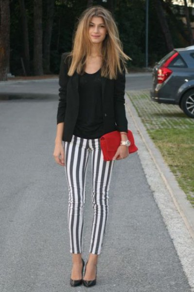 black blazer grey and white vertical striped leggings