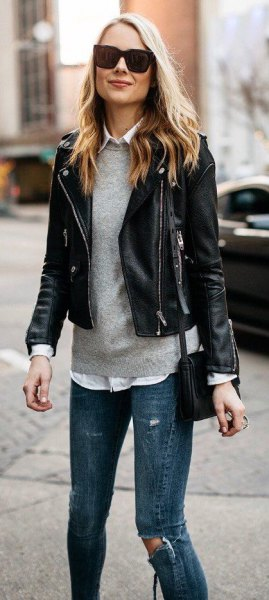 black blazer with grey fitted sweater