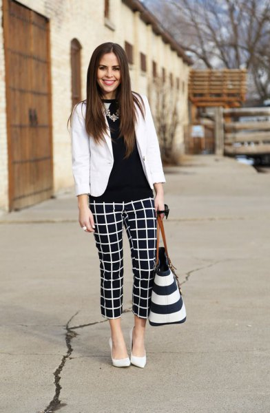 black blouse white blazer