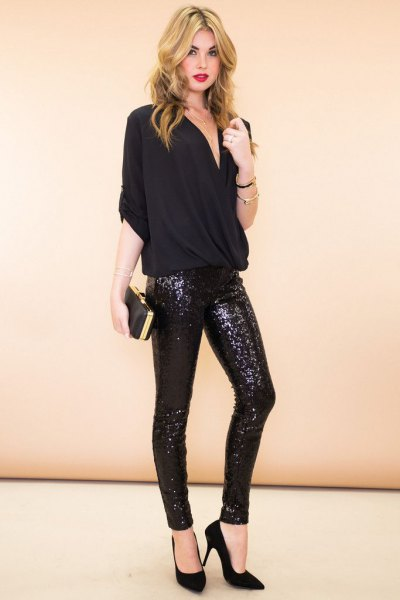 black blouse with glitter skinny pants