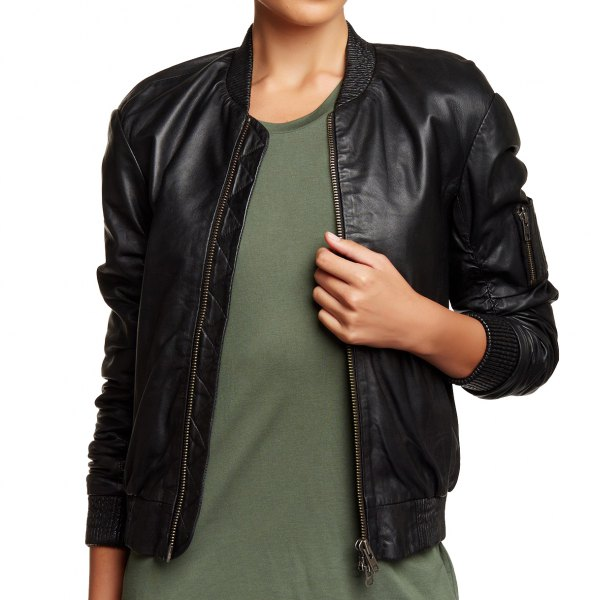 black bomber jacket with green t shirt dress