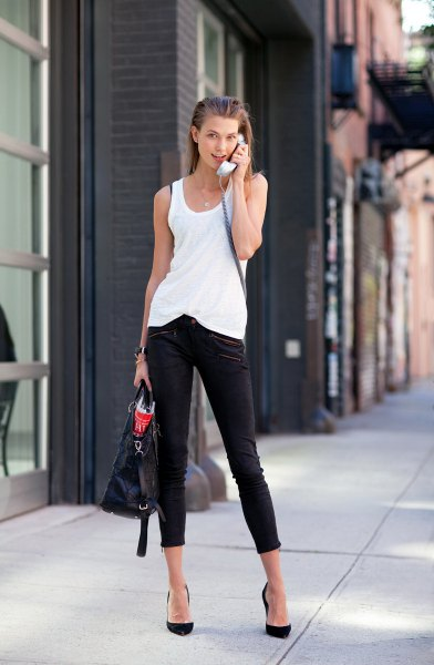 black capris with white tank top and heels