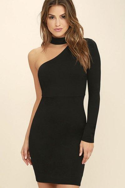 black choker neck one shoulder mini bodycon dress