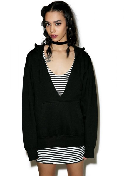 black cut out deep v neck hoodie striped shift mini dress