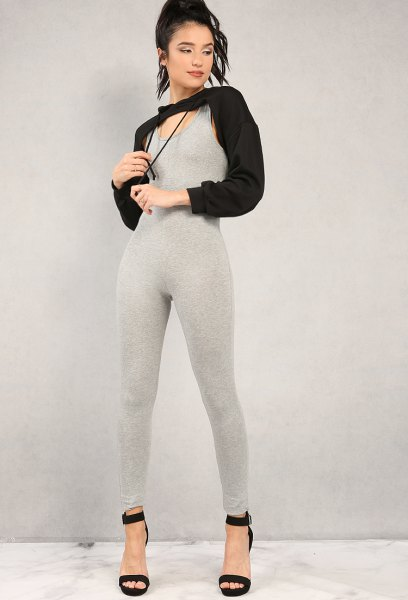 black cut out hoodie grey cotton jumpsuit