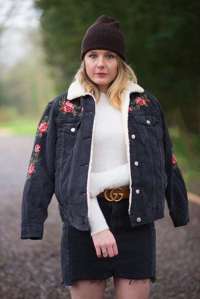 black embroidered faux fur collar denim jacket