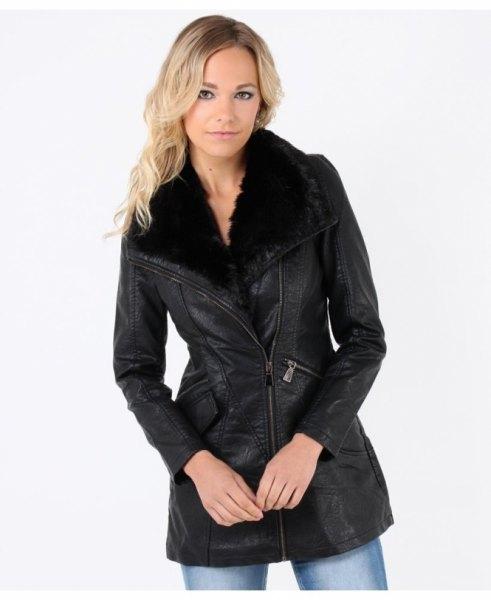 black faux fur collar leather coat