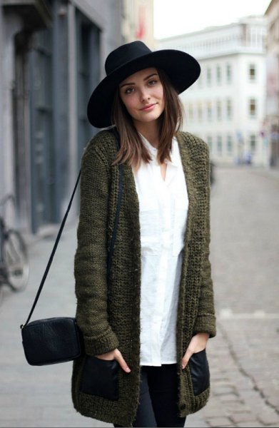 black felt hat with grey cardigan white button up shirt