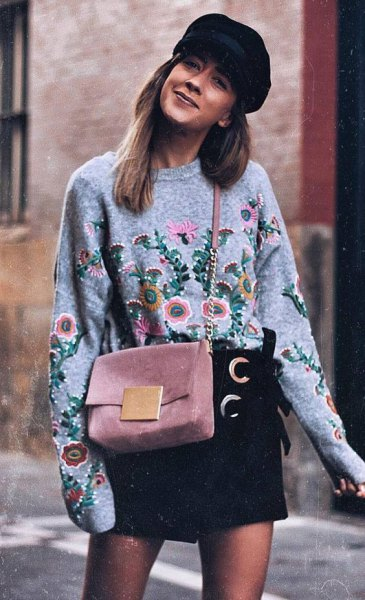 black floral embroidered sweatshirt with mini skirt flat cap