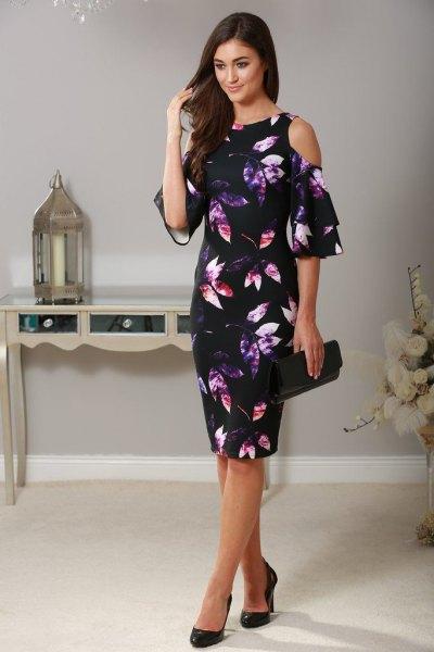 black floral printed cold shoulder sheath dress