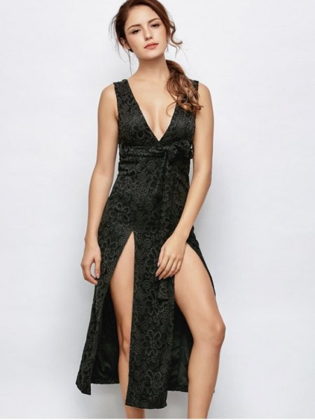black lace low cut double slit midi dress