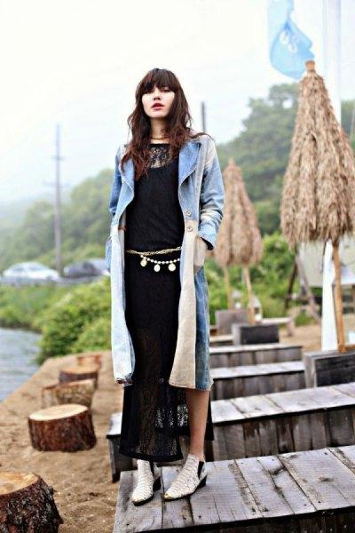 black lace maxi shift dress long grey cardigan