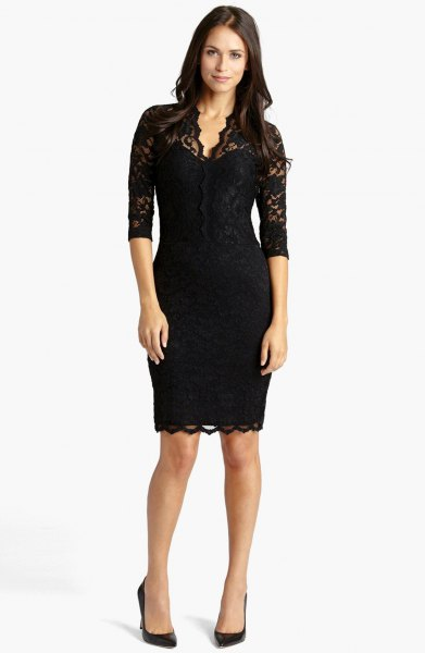 black lace scalloped hem half sleeve bodycon midi dress
