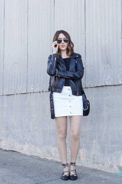 black leather jacket with white denim skirt