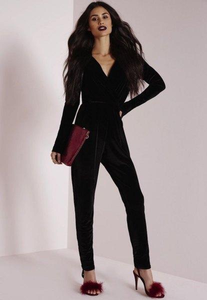 black long sleeve v neck velvet jumpsuit